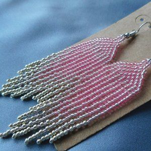 pink and silver color ombre gradient earrings